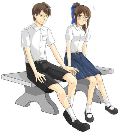 couple dating: Cute cartoon Asian Thai student couple