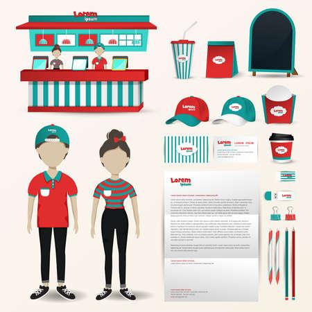 Fast-Food-Restaurant-Geschäft einheitlich Illustration