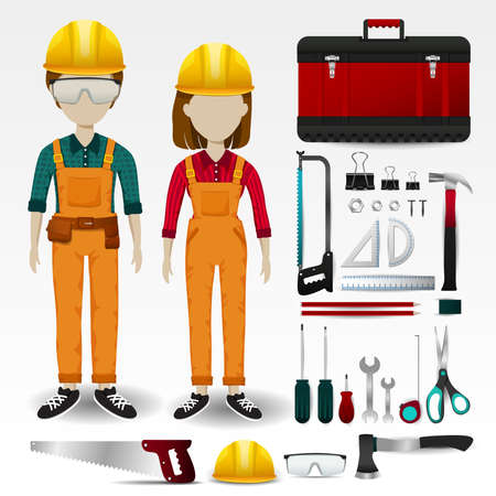 engineering tool: Field Engineering or technician uniform clothing, stationary and accessories tool box icon collection set with layout design isolated background for both male and female profession (vector)