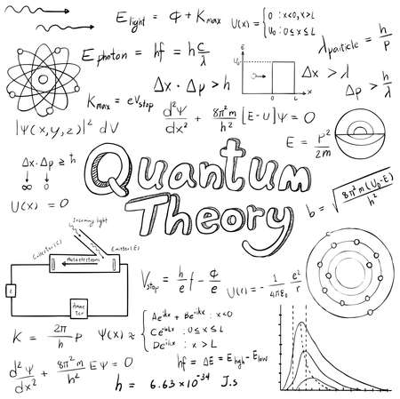 Quantum theory law and physics mathematical formula equation, doodle handwriting icon in white isolated background paper with handdrawn model, create by vector