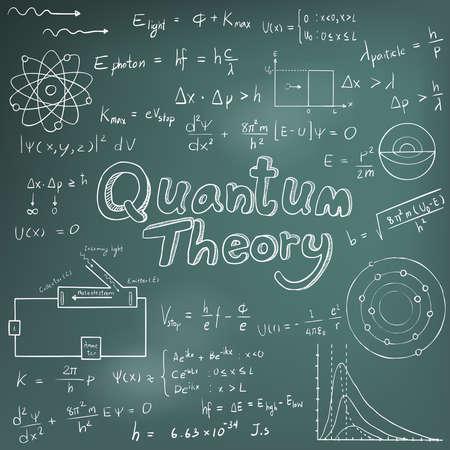 signos matematicos: Ley Quantum teoría y la física ecuación fórmula matemática, icono de escritura a mano del doodle en fondo de la pizarra con el modelo dibujado a mano, crear por el vector Vectores