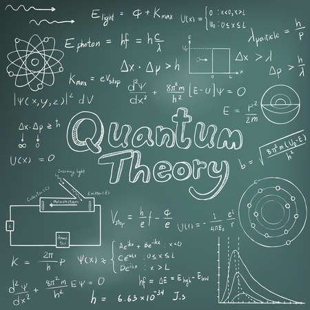 quantum: Quantum theory law and physics mathematical formula equation, doodle handwriting icon in blackboard background with hand drawn model, create by vector