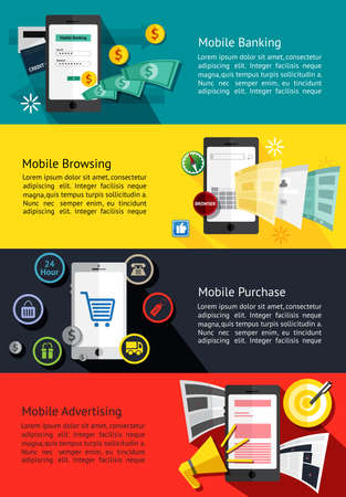 mobile banking: M-commerce or mobile phone business infographic banners about mobile banking, internet browsing, online shopping, and advertising background template layout design, create by vector