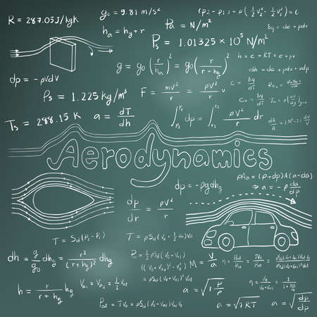 physics: Aerodynamics law theory and physics mathematical formula equation, doodle handwriting icon in blackboard background with hand drawn model, create by vector