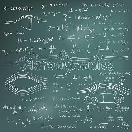 matemáticas: Teoría aerodinámica ley y la física ecuación fórmula matemática, icono de escritura a mano del doodle en fondo de la pizarra con el modelo dibujado a mano, crear por el vector
