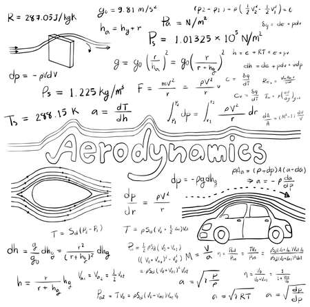 equation: Aerodynamics law theory and physics mathematical formula equation, doodle handwriting icon in white isolated background with handdrawn model, create by vector