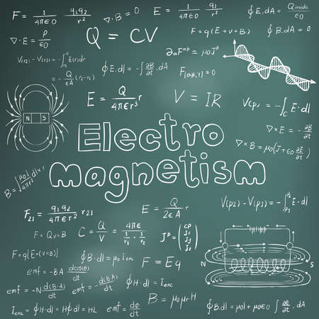 equation: Electromanetism electric magnetic law theory and physics mathematical formula equation, doodle handwriting icon in blackboard background with handdrawn model, create by vector Illustration