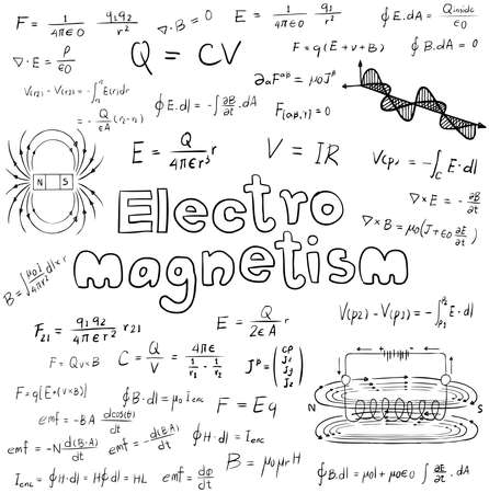 Electromanetism electric magnetic  law theory and physics mathematical formula equation, doodle handwriting icon in white isolated background paper with handdrawn model, create by vector