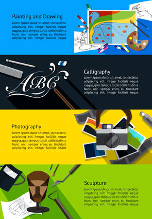 academy: Fine art infographic banners about painting and drawing, calligraphy, photography, and sculpture template background layout design, create by vector