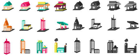 home school: 3D colorful  silhouette house, church, shop, building, and other public construction architecture icon set, create by vector