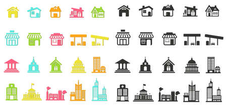 congresses: Colorful silhouette house, church, shop, building, and other public construction architecture flat icon set with no shade, create by vector Illustration