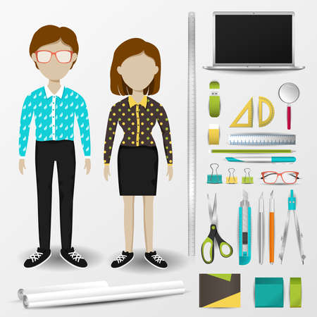 architects: Architect or interior designer uniform clothing, stationary and accessories tool icon collection set with layout design isolated background for both male and female profession (vector)