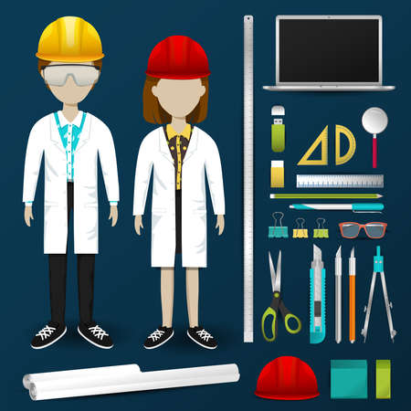 engineering tool: Lab engineering scientist or technician operator uniform clothing, stationary and accessories tool icon collection set with layout design isolated background for both male and female profession (vector) Illustration
