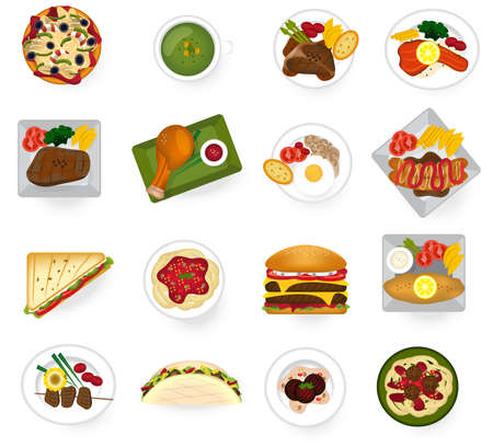 International cuisine food from Asian to American and Europe serve as main dish and fast food in restaurant icon collection set, create by vector