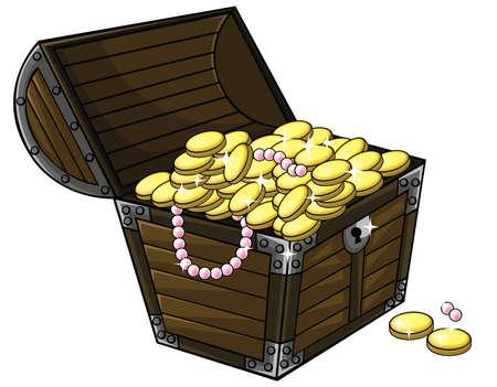 cofre del tesoro: Tesoro de dibujos animados caja de pecho con las monedas de oro y collar de perlas en el interior en el fondo blanco aislado, crear por el vector