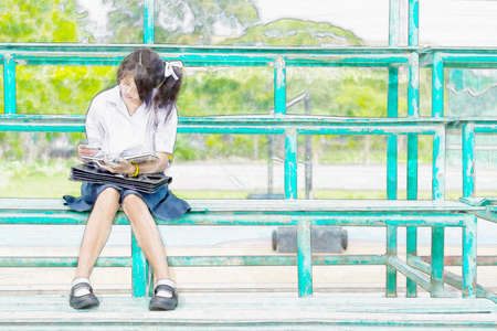 undies: Watercolor illustration sketch drawing of cute Asian Thai schoolgirl student in uniform is sitting and reading on a metal stand reading books Stock Photo