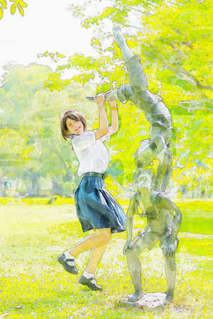 preteen  pure: Watercolor illustration of cute Asian Thai schoolgirl student in high school uniform is jumping with a statue in the park in summer atmosphere Stock Photo