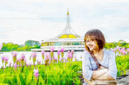 Watercolor illustration of cute Asian Thai girl is relaxing beside the river bank nature landscape with pink tulip flower field