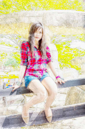 Watercolor illustration of cute Asian Thai girl in country cowgirl fashion clothing is sitting on the wooden fence in outdoor