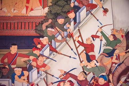 ayothaya: BANGKOK, THAILAND - JUNE 8: Part of ancient historical mural painting of an epic war between Burmese Myanmar and Siam Ayothaya kingdom on the fortress wall in Wat Prayoon temple on June 8, 2015.