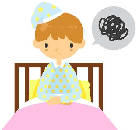 dormir: Un hombre adulto está teniendo problema de insomnio y no puede dormir en su cama, crear por el vector de dibujos animados