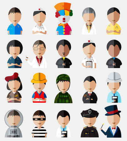 payasos caricatura: Parte superior del cuerpo de personajes lindos y divertidos dibujos animados Dummy establece colecci�n de iconos de diferentes tipos de trabajo y de la profesi�n, tanto para hombres como mujeres, crear por el vector