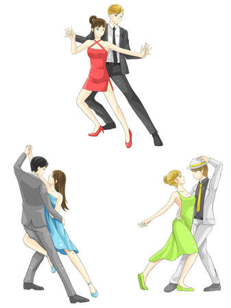 stage costume: An illustration cartoon characters icon set of dancing couple sport for both man and woman in various action and dancer fashion clothing, create by vector