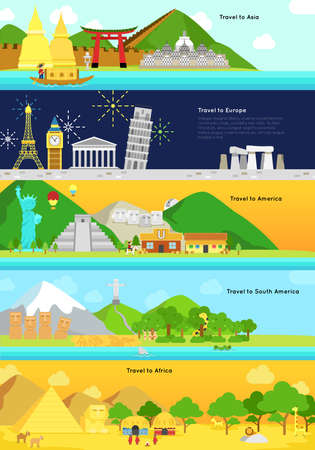 geoglyphs: Travel and tourism to the main continent of Asia, Europe, North and South America and Africa infographic banner badge design layout, create by vector