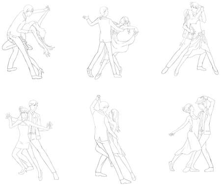 male ballet dancer: A cartoon illustration line drawing icon set of dancing couple sport for both man and woman in various action and dancer fashion clothing, create by vector Illustration