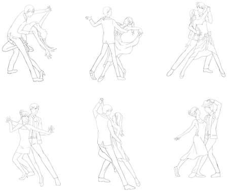 lijntekening: Een cartoon illustratie lijntekening icon set van dansend paar sport voor zowel man en vrouw in verschillende actie en danser mode kleding, creëren door vector Stock Illustratie