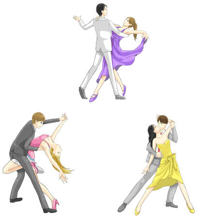 hugging: An illustration cartoon characters icon set of dancing couple sport for both man and woman in various action and dancer fashion clothing, create by vector