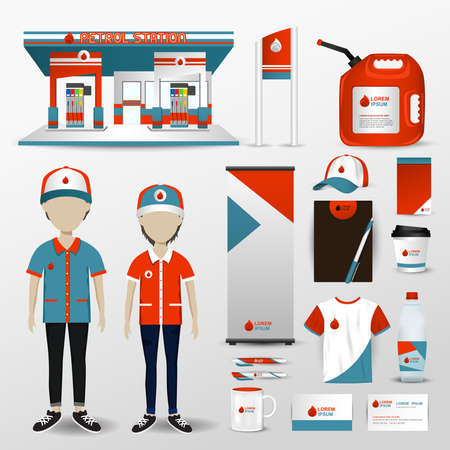 business tool: Gas station business brand design for employee uniform clothes, petrol station building, promotion card badge label, gift and accessories tool icon set in isolated background