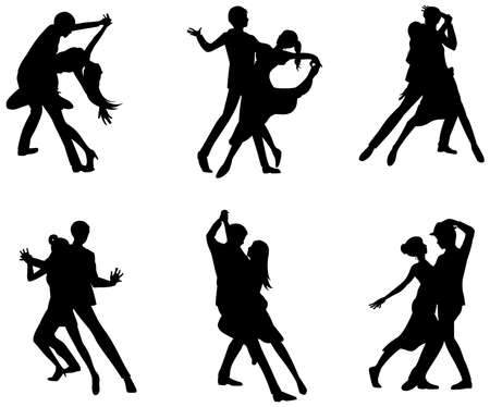 lovers: A cartoon silhouette illustration drawing icon set of dancing couple sport for both man and woman in various action and dancer fashion clothing, create by vector