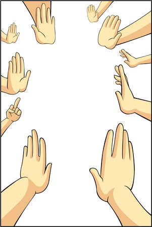 Vector illustration of many cartoon people hands trying to refuse, reject, or say no for something they want in white isolated background with blank space, create by vector