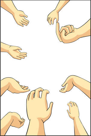 catch: Vector illustration of many cartoon people hands trying to grab, take, or request something they want in white isolated background with blank space, create by vector Illustration