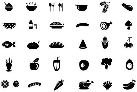 food ingredient: Silhouette trendy food, ingredient, vegetable fruit, and kitchen tool icon design set with isolated background, create by vector