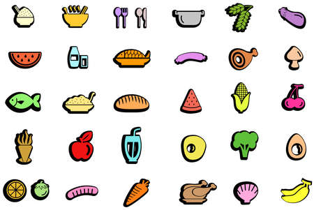 anti aging: Colorful trendy food, ingredient, vegetable fruit, and kitchen tool icon design set with isolated background, create by vector