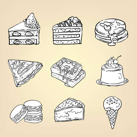 Doodle potloodtekening van cake cheesecake wafel pudding macaron ijs crêpe pannenkoek pie en andere internationale zoet dessert icon collectie set, creëren door vector Stock Illustratie