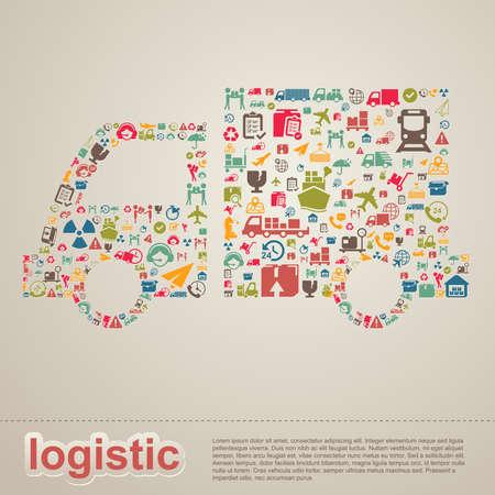 Logistieke distributie en transport levering infographic template lay-out ontwerp achtergrond icoon in vrachtwagen vorm banner pagina voor de website of brochure, creëren door vector Stock Illustratie