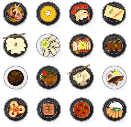 International cuisine gourmet food from Asian to American and Europe serve as main dish in restaurant such as lamb chop fish makarel steak stew soup prawn salmon sashimi sushi gyoza dumpling ramen tofu steak and fresh oyster icon collection set, create by
