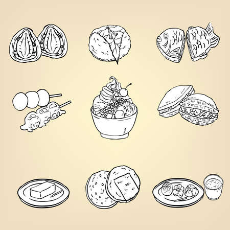 japanese dessert: Doodle pencil drawing of Japanese traditional cuisine dessert food of Strawberry Ichigo Daifuku, Dango, Anmitsu parfait, Sakura mochi, Taiyaki, Dorayaki, Wagashi, Yokan, and Senbei sweet icon collection set, create by vector Illustration