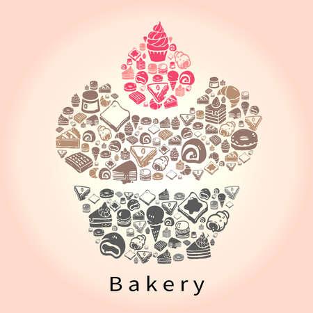 Silhouet doodle tekening van zoet dessert en snoep, zoals cake cheesecake taart donuts crêpe roll wafel pudding macaron ijs crêpe croissant brood pictogram in cupcake vorm voor bakkerij of banketbakkerij, creëren door vector
