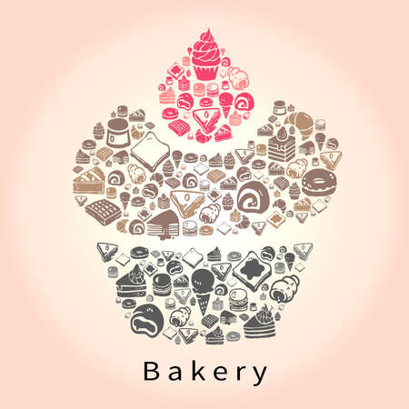 bread roll: Silhouette doodle drawing of dessert sweet and candy such as cake cheesecake pie donuts crepe roll waffle pudding macaron ice cream crepe croissant bread icon set in cupcake shape for bakery or pastry shop, create by vector Illustration