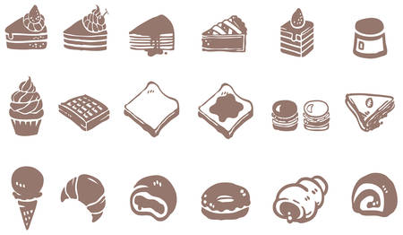 Doodle drawing of dessert sweet and candy such as cake cheesecake cupcake pie donuts crepe roll waffle pudding macaron ice cream crepe croissant bread icon collection set, create by vector  イラスト・ベクター素材