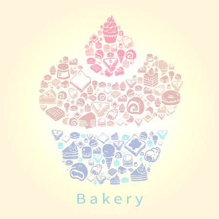 macaron: Silhouette doodle drawing of dessert sweet and candy such as cake cheesecake pie donuts crepe roll waffle pudding macaron ice cream crepe croissant bread icon set in cupcake shape for bakery or pastry shop in pastel color, create by vector