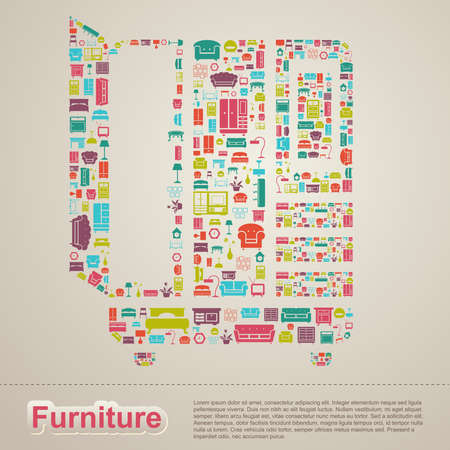 home furniture: Flat infographic home appliance furniture icon template banner layout design background in a cupboard closet drawer shape for website or brochure with sample text, create by vector