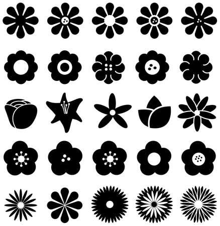 Forme simple fleur géométrique comme la rose tulipe marguerite de tournesol et d'autres jeu de collection silhouette icône, créer par le vecteur