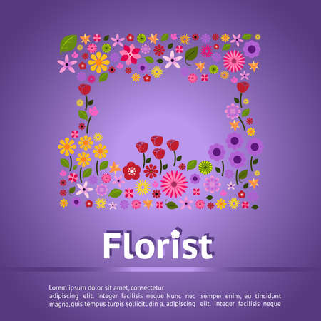 shop sign: Florist shop infographic banner background template layout design with colorful flower icon such as rose tulip sunflower daisy form in creative picture frame shape for promotion and advertisement, create by vector Illustration
