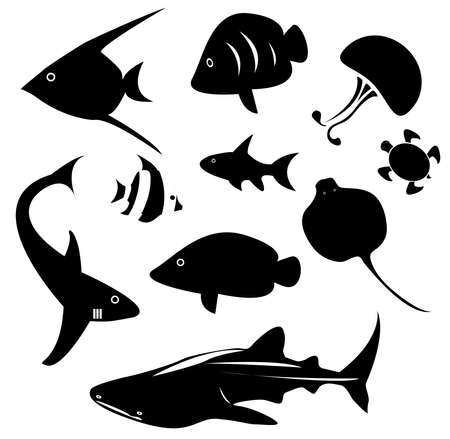 Silhouette marine animal and reptile such as shark, sea turtle, jellyfish, ray, butterfly fish, angel fish and other ocean creature icon collection set in isolated background, create by vector Illustration