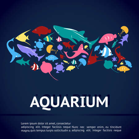 colorful fish: Aquarium infographic banner template layout design with various kinds of marine animal icon such as shark, sea turtle, jellyfish, ray, butterfly fish, angel fish and other creature in fish shape with sample text in deep blue water background, create by ve